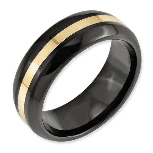 Black Ceramic 8mm Ring with 14kt Gold Inlay