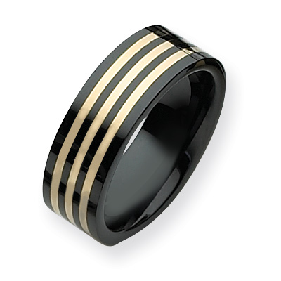 8mm Ceramic Ring with 3 14k Gold Inlays