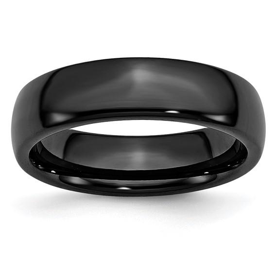 Black Ceramic 6mm Polished Band