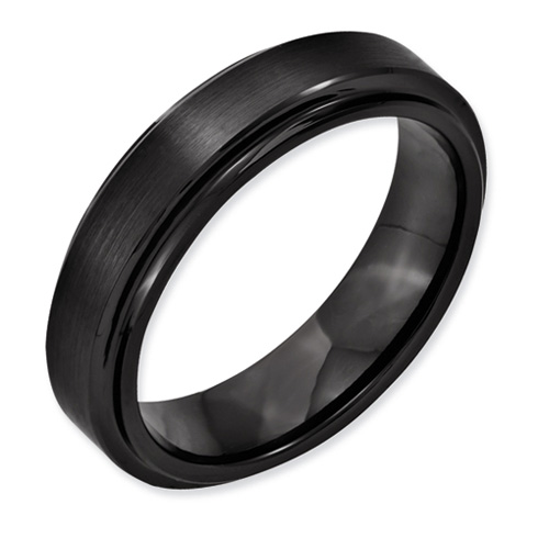 Black Ceramic 6mm Ridged Edge Band