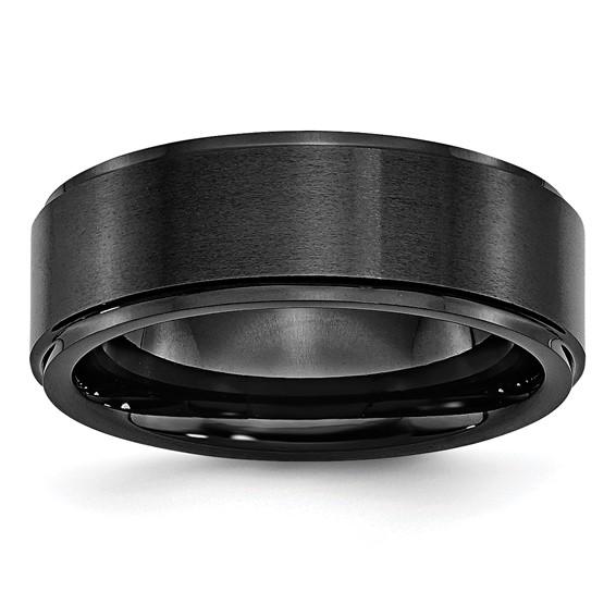 Black Ceramic 8mm Ridged Edge Band