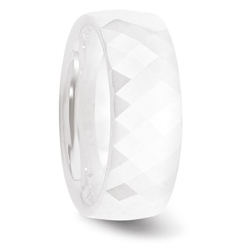 White Ceramic 8mm Faceted Ring