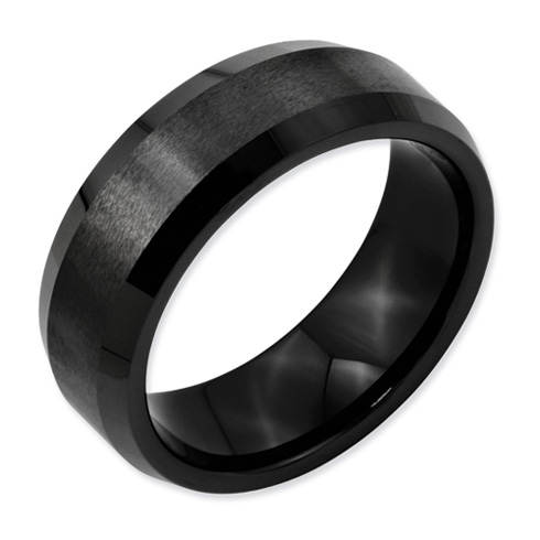 Ceramic Ring 8mm Brushed Ring with Beveled Edges