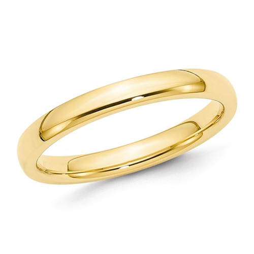 14kt Yellow Gold 3mm Polished Comfort Fit Wedding Band