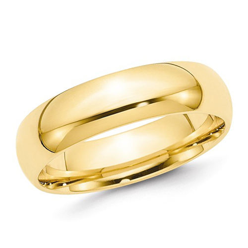 14kt Yellow Gold 6mm Comfort Fit Polished Wedding Band