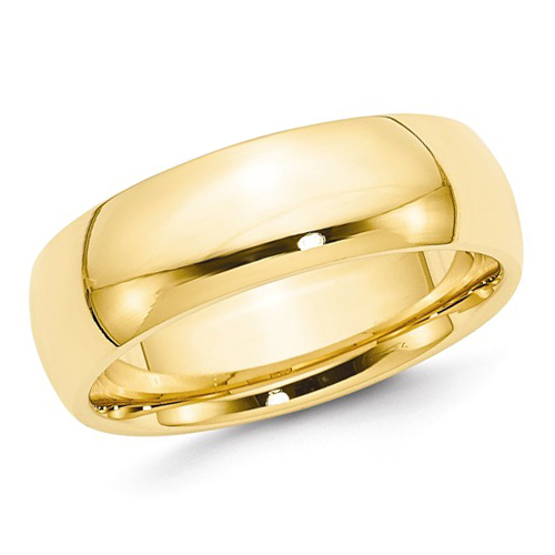 14kt Yellow Gold 7mm Comfort Fit Polished Wedding Band