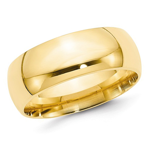 14kt Yellow Gold 8mm Comfort Fit Polished Wedding Band
