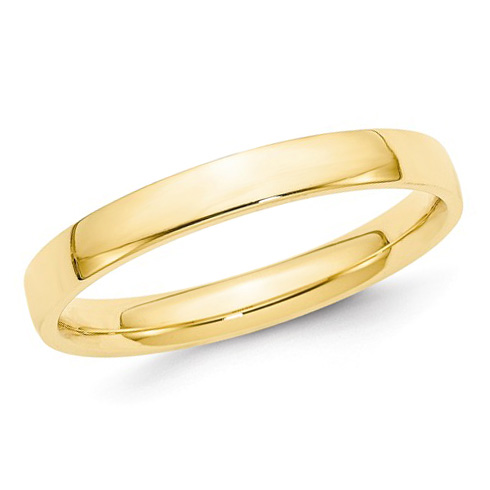 14kt Yellow Gold 3mm Light Comfort Fit Polished Wedding Band