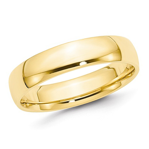 14kt Yellow Gold 5mm Light Comfort Fit Polished Wedding Band