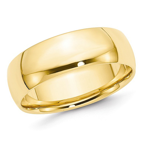 14kt Yellow Gold 7mm Light Comfort Fit Polished Wedding Band