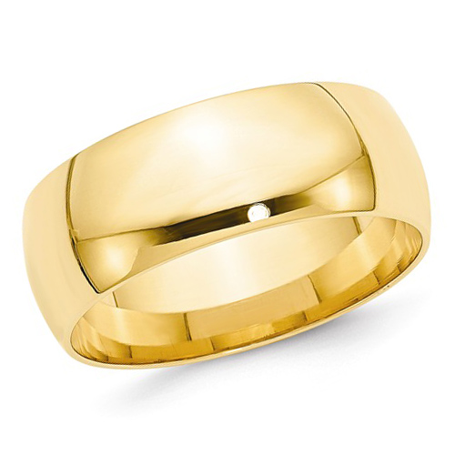 14kt Yellow Gold 8mm Light Comfort Fit Polished Wedding Band