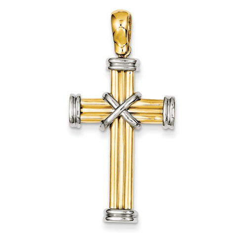 14k Two-tone Gold 1 1/4in Wrapped Latin Cross Pendant