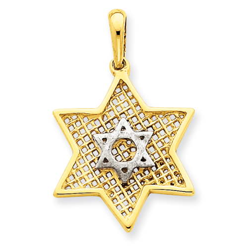 14k 7/8in Two-Tone Solid Polished Meshed Star of David Charm