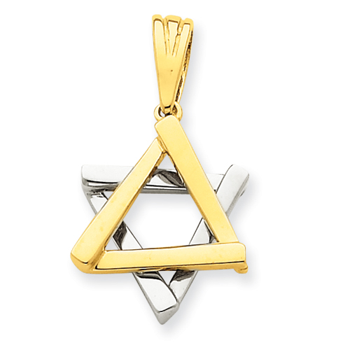 14k Two-tone Gold 3/4in Star of David Pendant
