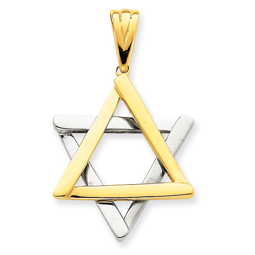 14k Two-Tone Gold 1 1/8in Star Of David Pendant