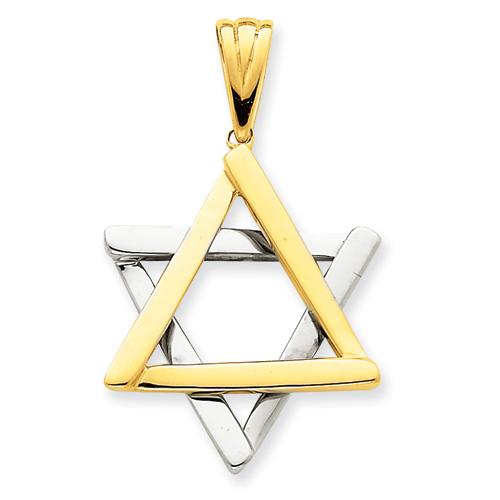 14k Two-Tone Gold 1 1/8in Star Of David Pendant