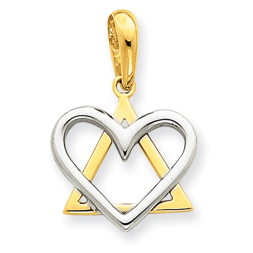 14k Two-tone Gold 9/16in Star of David Heart Charm