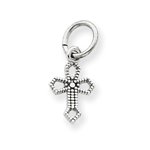 14kt White Gold 3/8in Passion Cross Charm