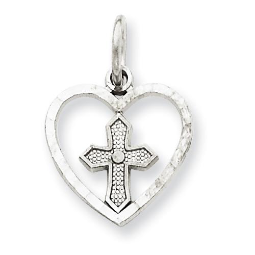 14kt White Gold 1/2in Cross in Heart Charm