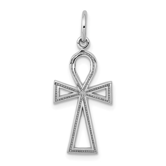 14kt White Gold 3/4in Ankh Cross Charm