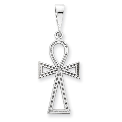 14kt White Gold 1in Ankh Cross Pendant