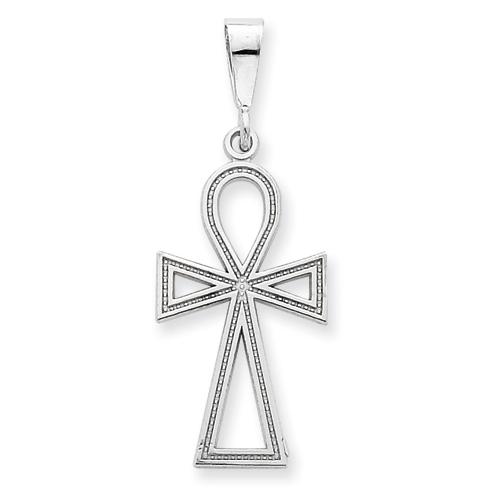 14kt White Gold 1in Ankh Cross Pendant