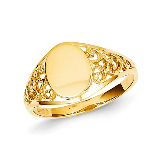14kt Yellow Gold Ladies' Filigree Signet Ring
