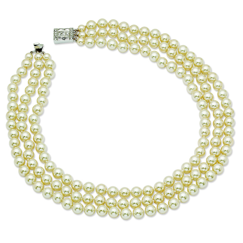 Jacqueline Kennedy Triple-Strand Simulated Pearl 18in Necklace