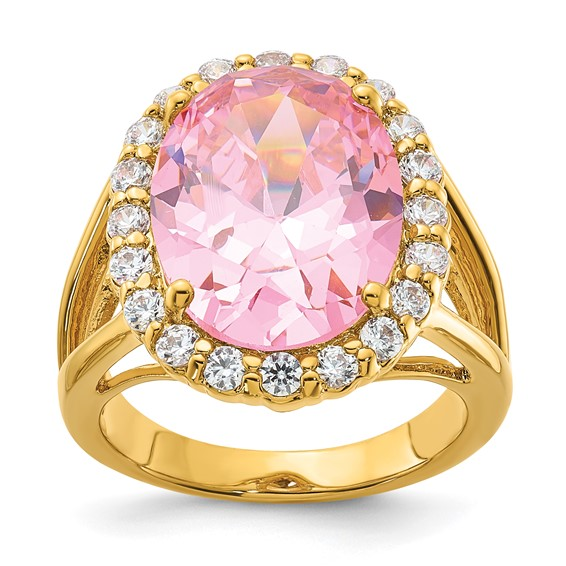 Jacqueline Kennedy Vermeil Simulated Kunzite Ring