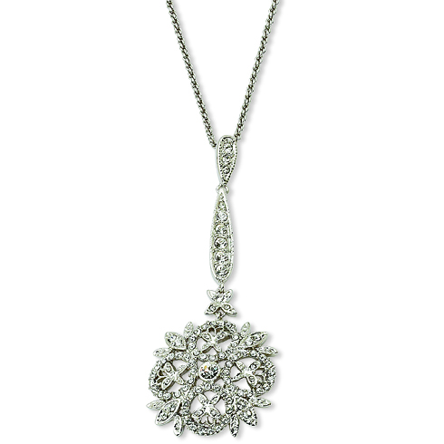 Jacqueline Kennedy Winter Crystal Pendant 17in Necklace