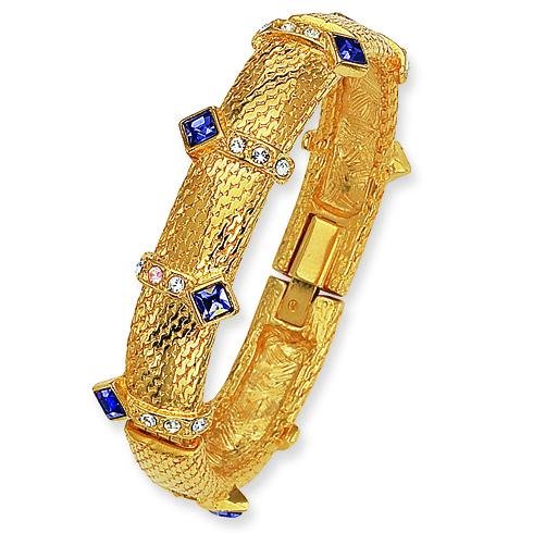8in Tanzanite Square Crystal Hinged Bracelet