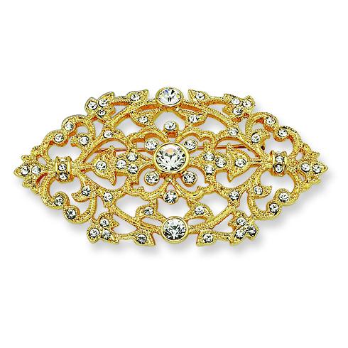 Gold-plated Swarovski Crystal Floral Brooch Pin