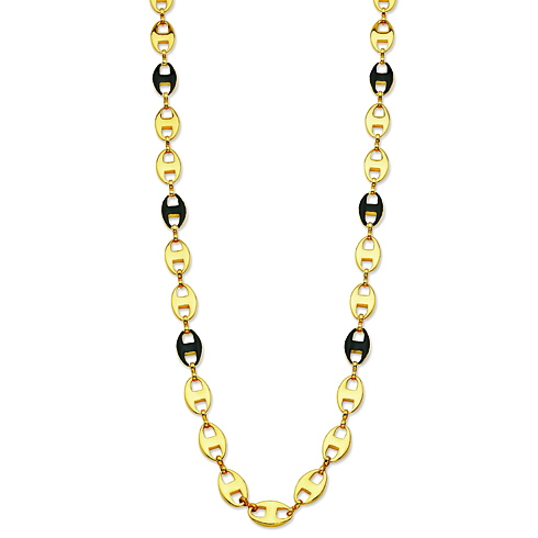 Jacqueline Kennedy Gold-plated Enamel 39in Anchor Link Necklace