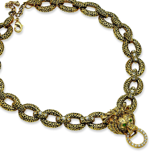 Jacqueline Kennedy Gold-plated Swarovski Crystal 18in Lion Necklace