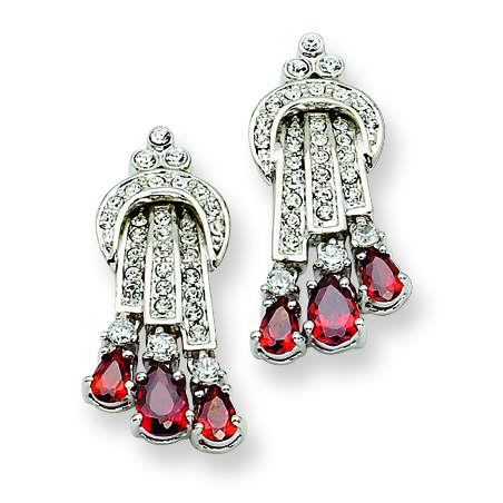 Jacqueline Kennedy Swarovski Crystal Red Raindrop Post Earrings