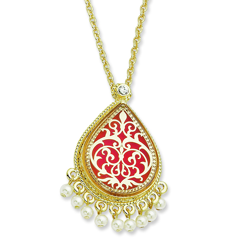 Gold-plated Enamel 17in French Moroccan Pin or Pendant