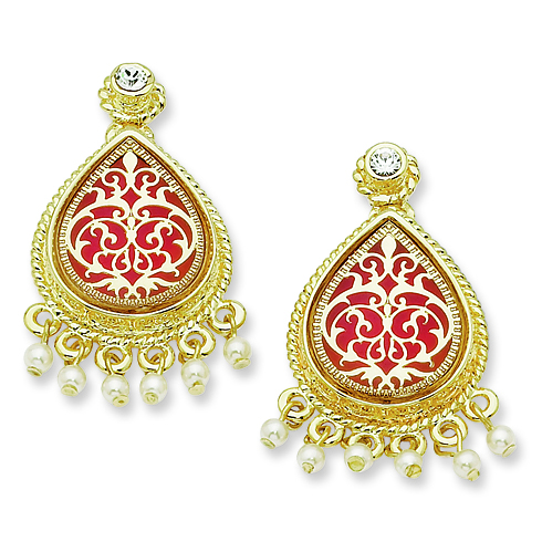 Jacqueline Kennedy Gold-plated Sim Pearl French Moroccan Earrings