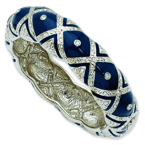 8in Swarovski Crystal Blue Enameled Bangle