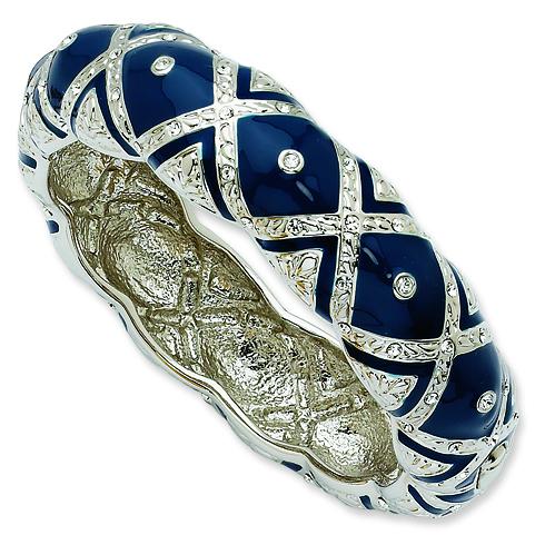 8in Swarovski Crystal Blue Enameled Bangle