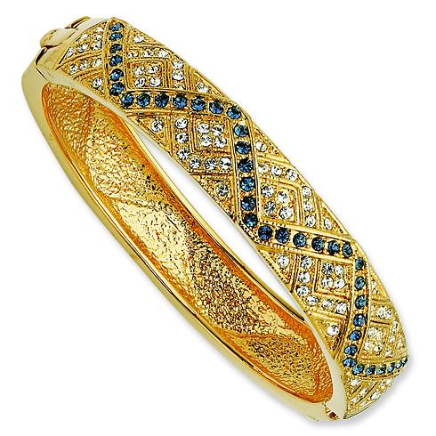 Gold-plated Swarovski Crystal Smokey Blue Zig Zag 8in Bangle