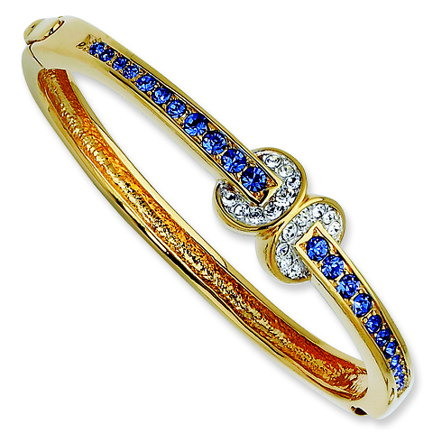 8in Gold-plated Swarovski Crystal Blue Love Knot Bangle