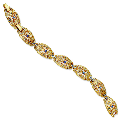 Jacqueline Kennedy Gold-plated Crystal Blue Art Deco 7in Bracelet