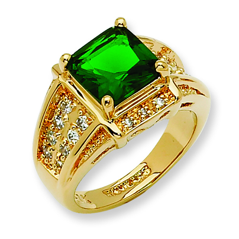 Gold-plated Swarovski Crystal Green Princess-cut Ring