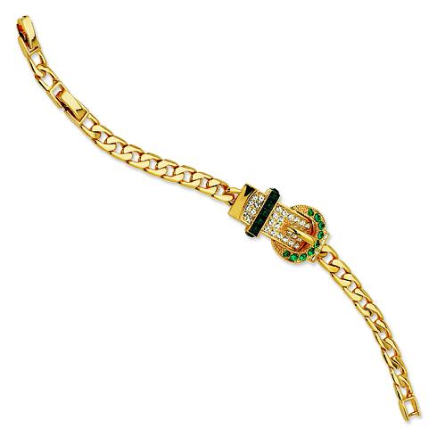 Jacqueline Kennedy 7in Gold-plated Swarovski Crystal Green Buckle Bracelet
