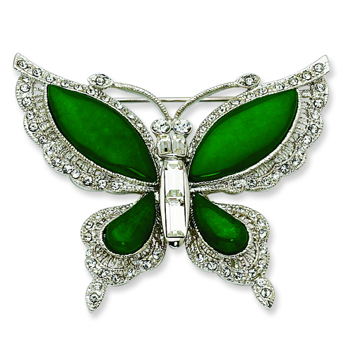 Jacqueline Kennedy Swarovski Crystal Simulated Jade Butterfly Pin