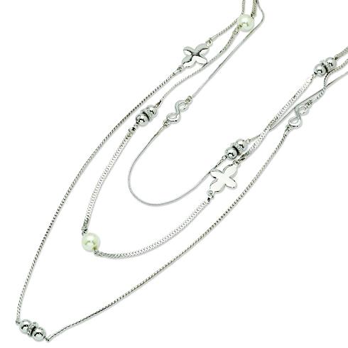 Jackie's Swarovski Crystal & Simulated Pearls Triple Strand Necklace