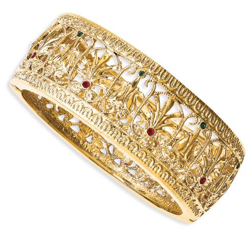 Jacqueline Kennedy 7in Burmese Crystal Bangle Bracelet