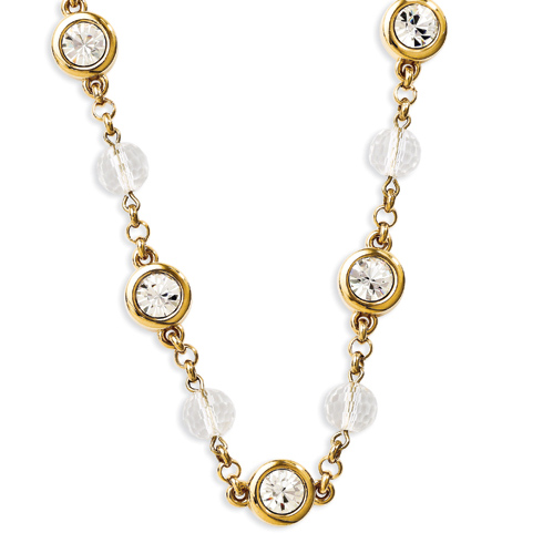 Jacqueline Kennedy 27in Crystal Orb Necklace