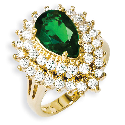 Gold-plated Swarovski Emerald Crystal and CZ Cocktail Ring