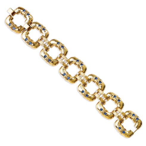 Jacqueline Kennedy 7in Bold Square Link Bracelet with Blue Crystals